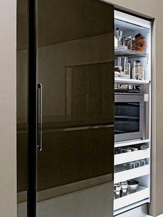 Apartment: A Stylish Apartment Designed with Black-White and Modern Interior - Modern Kitchen Modern Kitchen Cabinets, Kitchen Cabinet Design, Kitchen Interior, Modern Interior, Kitchen Modern, Interior Doors, Kitchen Lamps, Kitchen Industrial, Scandinavian Kitchen