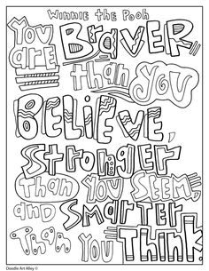 Winnie the Pooh Coloring Quotes - Doodle Art Alley Quote Coloring Pages, Coloring Pages Inspirational, Cat Coloring Page, Animal Coloring Pages, Colouring Pages, Adult Coloring Pages, Free Coloring, Coloring Books, Colouring Sheets