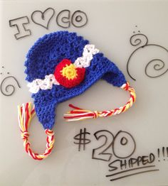 A little CO l-o-v-e for baby. Colorado flag beanie for baby.