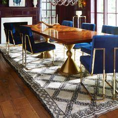 Jonathan Adler Goldfinger Dining Chair for $1,250 vs Overstock Haute Navy Velvet Chair for $296 @copycatchic look for less budget home decor design