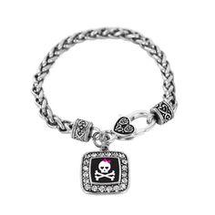 Cute Skull and Crossbones Classic Charm Bracelet - a sterling silver bracelet