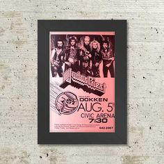 Judas Priest with Dokken at the Civic Arena August 5, 1986 Framed Concert Sheet by MVS