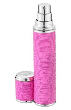 Creed Dark Pink Leather with Silver Trim Pocket Atomizer