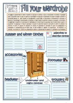 FILL YOUR WARDROBE worksheet - Free ESL printable worksheets made by teachers