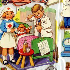 Full Die Cut Scrap Sheet from ENGLAND Vintage Medical Theme Dr Nurse