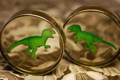 1 5/8 T-Rex Dinosaur Plugs. $20.00, via Etsy.