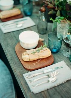 Food presentation, rustic style.  Would be beautiful with copper SeaGlass plates.