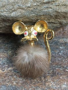 Hairy Mouse Brooch Mink Mouse Brooch  Mink Jewelry Large Google Eyed Mouse Brooch Scary Mouse Pin by PassingTides on Etsy