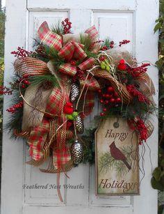 Christmas Door Wreath, Cardinal Wreath, Nature Wreath, Mantel Decor, Christmas Decor, Plaid Ribbon, Red Berries, Burlap Sign, Handmade