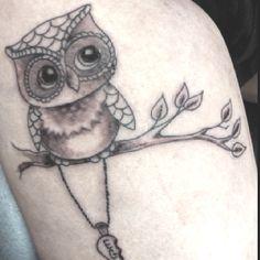Cute little owl tattoo by Yakuza in Campbelltown