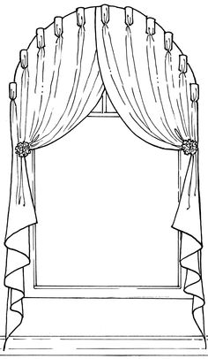 Arched Window Coverings, Curtains For Arched Windows, Drapes Curtains, Doll House Curtains, Curtain Drawing, Stairs Window, Wedding Stage Design, Wardrobe Design Bedroom, Drapery Designs