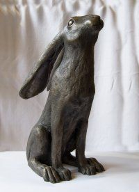Moongazing hare by Oriele Bronze