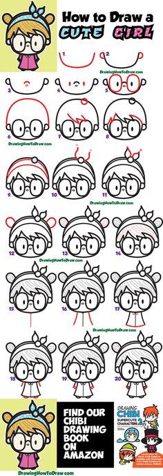 How to Draw a Cute Kawaii Girl with Buns, Headband, and Glasses Easy Step by Step - How to Draw Step by Step Drawing Tutorials Cool Drawings For Kids, Easy Drawings For Kids, Drawing For Kids, Drawing Ideas, Kawaii Drawings, Cartoon Drawings, Cute Drawings, Beautiful Drawings, Pencil Sketches Easy