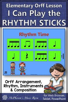 Go ahead and let all your elementary music students play the rhythm sticks! You will LOVE this elementary music lesson plan for adding instruments, rhythm and composition. Highly engaging interactive visuals and activities. Elemental Orff arrangement included. Check it out!  #elementarymusic #orffarrangement Teaching Music, Music Teachers, Music Mix, Music Class, Music Education Activities, Elementary Music Lessons, Music Lesson Plans, Percussion, Orchestra