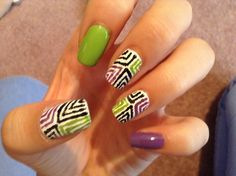 Black green purple lines nail art