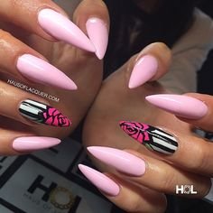 Love these nails on @marisalauren_ done at @crownthequeens. Mixed @akzentz options gel in Pink Flirt with white gel play for the light pink and used Pink Flirt, Limetwist and black gel play for the...