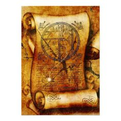 Treasure map ancient scroll birthday personalized announcements