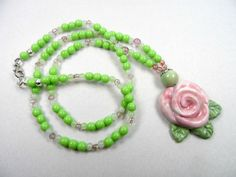 "Pink and Green Floral Motif Ceramic Beaded Pendant Necklace - 23"" length with 2"" pendant"