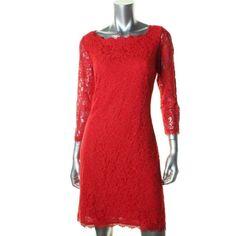 DIANE VON FURSTENBERG NEW Zarita Red Romantic Lace Party Cocktail Dress 2 BHFO