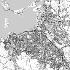 Seattle Washington Downtown vector map Seattle washington Print
