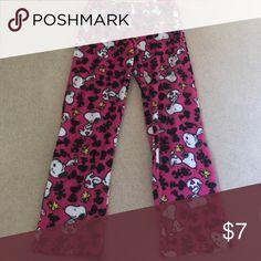 Snoopy pajama pants Super cute pink fuzzy pajama pants with Snoopy and Woodstock on them! Peanuts Intimates & Sleepwear Pajamas