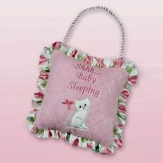 (CLICK IMAGE TWICE FOR DETAILS AND PRICING) Bearington Little Kitty Pillow. Baby sleeping kitten door hanger in pink. See More Gifts at a href=http://www.ourgreatshop.com/Gifts-C196.aspx  target=_blank rel=nofollowhttp://www.ourgreatshop.com/Gifts-C196.aspx/a