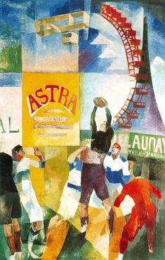 Tableaux sur toile, reproduction de Delaunay, L'équipe de Cardiff