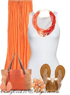 """""""Coral Maxi Skirt"""" by cindycook10 on Polyvore"""