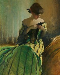 John White Alexander (American, 1856 - 1915), Study in Black and Green,  c.1906, oil on canvas, 50 x 40.125 in. (127 x 101.9 cm.)