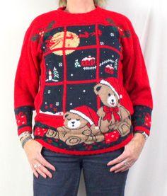 Nutcracker Ugly Christmas Sweater M size Bears Flying Sled