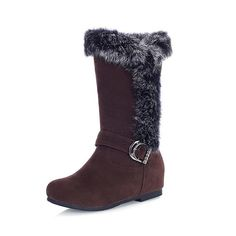 Maymeenth Womens Round Closed Toe High Heels Artificial Plush PU Solid Boots with Fur Ornament *** Review more details here : Boots Shoes