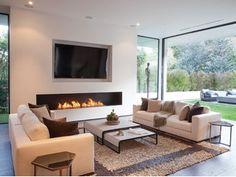 Firebox By ecosmart fire, bioethanol fireplace, fireboxes Collection Linear Fireplace, Bioethanol Fireplace, Fireplace Inserts, Modern Fireplace, Fireplace Design, Living Room Decor Fireplace, Home Fireplace, New Living Room, Home And Living
