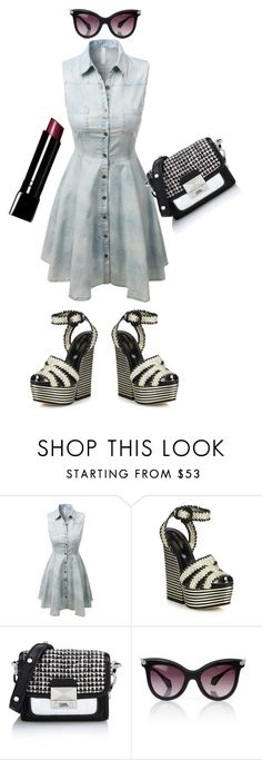 """""""hello denim"""" by missgirlgiuli ❤ liked on Polyvore featuring LE3NO, Sergio Rossi, Karl Lagerfeld, Vivienne Westwood and Bobbi Brown Cosmetics"""
