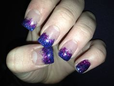 Gel nails. Blue and purple.