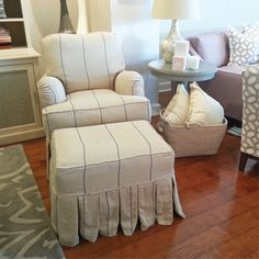 Mini Milan chair on a rocking swivel with a coordinating ottoman.  Slipcovered in our   e30e4f5f0472