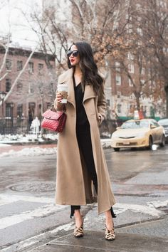 Long Winter Coats :: Camel Coat & Leopard pumps :: Outfit :: T O P :: Chloe coat Pastel Outfit, Plus Size Trench Coat, Long Trench Coat, Camel Coat Outfit, Long Coat Outfit, Wendy's Lookbook, Mode Mantel, Long Winter Coats, Long Coats