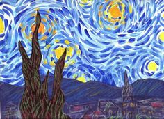 starry night - paint sky, construction paper land and tree