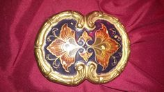 belt buckle,brass,India-colored design,vtg,2 prong,rare,gorgeous,hand Stamped