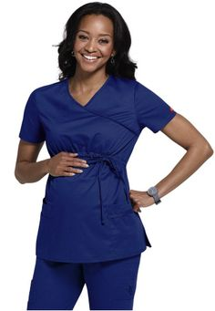 Cherokee Flexibles maternity mock-wrap scrub top has a double patch pocket and adorable tie at the waist. Get it delivered quickly from Scrubs and Beyond. Maternity Scrubs, Maternity Dresses, Maternity Fashion, Maternity Style, Pregnancy Wardrobe, Pregnancy Outfits, Scrubs Uniform, Medical Scrubs, Nursing Clothes