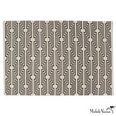 Graphic Wool Area Rug Black White