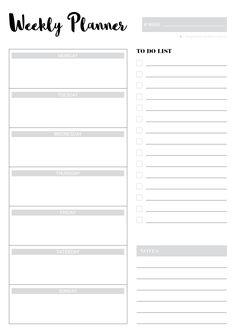 Minimalist Weekly Planner Printable  Weekly Planner Printable
