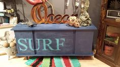 Hang ten with this cool new hand painted SURF dresser. Looks great in any room. Hang Ten, Flip Clock, Home Goods, Dresser, Surfing, Hand Painted, The Originals, Cool Stuff, Room