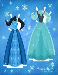 Elsa paper doll dress up printable