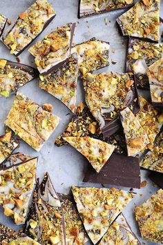 This easy Pistachio Chocolate Bark recipe is a delicious treat to share at holiday parties or package up for the perfect edible gift to share.: