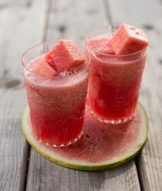 Watermelon Margaritas with Frozen Watermelon Cubes