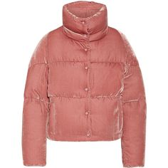Moncler Cercis quilted velvet down jacket ($1,405) ❤ liked on Polyvore featuring outerwear, jackets, moncler, antique rose, insulated jackets, down feather jacket, snap jacket, flower print jacket and down jacket