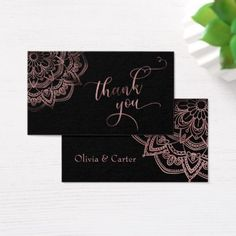 Rose Gold Mandala over Black Thank You Favor Tag - wedding thank you gifts cards stamps postcards marriage thankyou