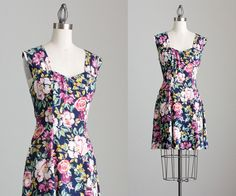90s Vintage Floral Print Mini Dress / Small by decades on Etsy, $48.00