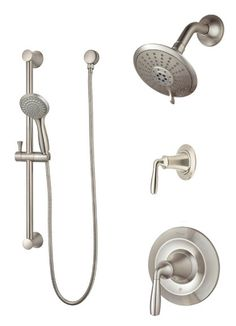 shower faucet with handheld shower head. View the Pfister B89 7TR Iyla Shower System with Valve Trim  Head Regular shower head and hand held on slide bar Love