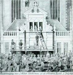 De ophaning van Albert Wetterman in 1837  op 7juli. Grote Markt Zwolle. Wikipedia staat meer info.